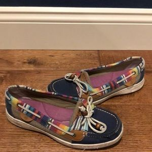Sperry Top-Sider rainbow and blue canvas 7.5